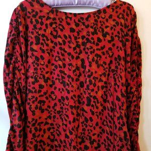 Dex Red and Black Cheetah Print Open Back Blouse
